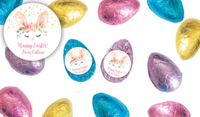 Bunny Face Personalised Chocolate Half Easter Eggs