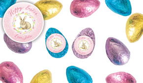Pink Floral Bunny Personalised Chocolate Half Easter Eggs