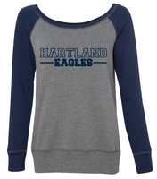 Hartland Eagles Women's Raglan Wide Neck Sweatshirt