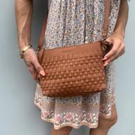 Leather Woven Crossbody Bag- Tan