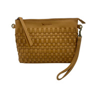 Leather Woven Crossbody Bag- Natural