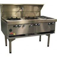 Goldstein CWA2B2 Air Cooled Gas Wok With Two Side Burners. Weekly Rental $69.00