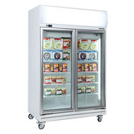 Bromic UF1000LF Glass Door Fan Forced Freezer 976 Litre With Lightbox. Weekly Rental $52.00
