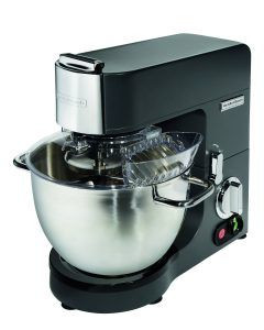 Product Description Built for versatility and offering labour-saving power for all kinds of foods ervice kitchens, our counter top stand mixer isn't just for small bakeries and pastry shops. For chain and independent restaurants to healthcare, catering operations, and beyond, adding the 8 quart / 8 litre CPM800 from Hamilton Beach Commercial® to your operation brings in a utility player that gives you the ability to produce countless small-batch recipes. Use it for anything from whipped cream, meringues and frosting to mashed potatoes, pancake batter — even your favorite chocolate chip cookie recipe — and accomplish them all more efficiently than mixing by hand.  The variable 7 speed dial gives you the control you need to achieve the consistent results you're looking for, and the heavy-duty stainless steel attachments are designed to whip, mix, beat and knead a broad range of food products  8 quart stainless steel bowl , capacity of 2kg of flour per batch All metal gears 2 year commercial back to base warranty Heavy-duty stainless steel beater, dough hook, wire whisk & bowl with 2 handles, all supplied. Variable 7 speed dial & pulse; allows for speed changes while mixing Tilt head Die-cast aluminum body BPA free plastic safety bowl guard with microswitch
