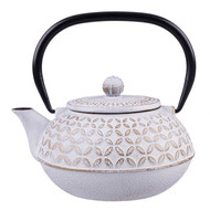 Cast Iron Teapot 900ml - Gold Leaf White
