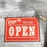 S/S RED Open/Closed Sign Metal Hanging