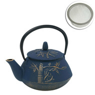Bamboo Cast Iron Teapot Tea Navy/Bronze with Strainer - 800ml