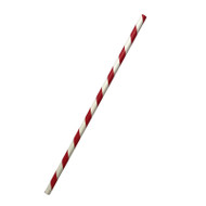 Red Stripe Paper ECO Straws 6x197mm - 250 pieces