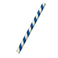 Blue Stripe Paper ECO straws 10x197mm - 250 pieces