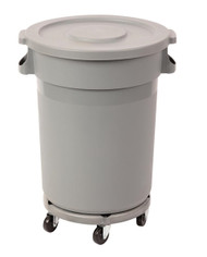 L647-S 80LT ROUND BIN WITH DOLLY AND LID