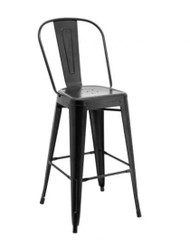 Tall Replica Tolix Stool with High Back in Matte Black