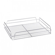 RECT GLASS BASKET -CHROME PLATED