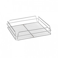 SQUARE GLASS BASKET -CHROME PLATED
