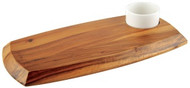 WOODEN BOARD W/DIPPING BOWL-180x362mm