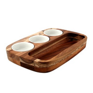 DIPPING PLATE SET-W/3 BOWLS 205x300mm