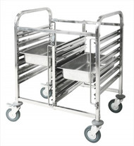 DOUBLE LOW GASTRONORM TROLLEY -2 x 6 TRAYS
