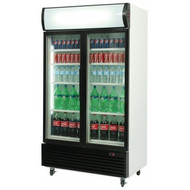 BROMIC GM1000LB VERTICAL 2 DOOR GLASS CHILLER WITH LIGHT BOX -BLACK. Weekly Rental $25.00