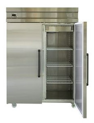 Inomak UFI1140 - S/STEEL  DOUBLE DOOR UPRIGHT FRIDGE -1432 Litre. Weekly Rental $38.00