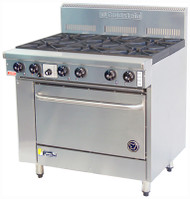 Goldstein PF-8-28 GAS 8 BURNER WITH STATIC OVEN. Weekly Rental $90.00