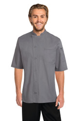 Valais Cool Vent Chef Coat -Grey with Black Contrast