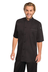 Valais Cool Vent Chef Coat - Black with Blue Contrast