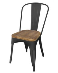 GG707 - Steel Dining Side Chairs with Wooden Seat pads Black (Pack of 4)