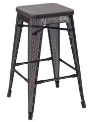 """RFC"" MEDIUM MESH STOOL -BLACK WITH DARK TIMBER SEAT"