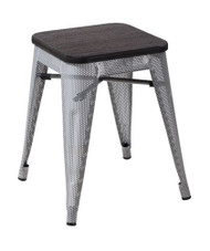 """RFC"" LOW MESH STOOL -SILVER WITH DARK TIMBER SEAT"