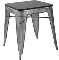 """RFC"" METAL MESH TABLE WITH DARK TIMBER TOP 60x60cm"