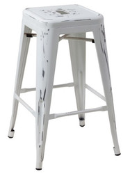 """RFC"" TALL DISTRESSED WHITE METAL STOOL"