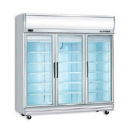 Bromic UF1500LF - Three Glass Door Freezer With Light Box. Weekly Rental $63.00