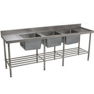 SIMPLY STAINLESS - SS24.7.2400.TB - TRIPLE BOWL SINK. Weekly Rental $33.00