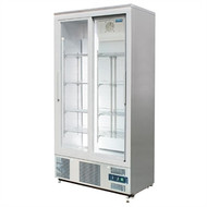 POLAR - CK478 - STAINLESS STEEL TWO SLIDING GLASS  DOORS FRIDGE - 490 LITRE. Weekly Rental $22.00