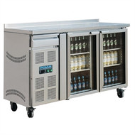 POLAR - CK490 - TWO GLASS DOOR UNDERBENCH FRIDGE. Weekly Rental $29.00