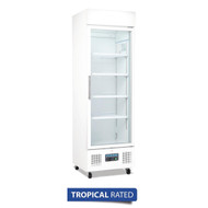 POLAR - DM076 - SINGLE GLASS DOOR UPRIGHT REFRIGERATOR - WHITE. Weekly Rental $12.00