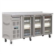 POLAR - CK491 - 3 GLASS DOOR UNDERBENCH REFRIGERATOR. Weekly Rental $33.00