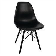 GM662 - Black Moulded Chairs with Black Wooden Legs (Pack of 2)