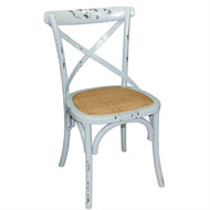 GG655A - Antique Blue Wash Wooden Dining Chairs with Backrest (Pack of 2)