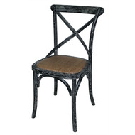 GG654 - Black Wooden Dining Chairs with Backrest (Pack of 2)