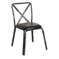GM646 - Antique Black Steel Chairs with Black PU Seat (Pack of 4)