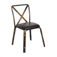 GM648 -  Antique Copper Steel Chairs with Black PU Seat (Pack of 4)