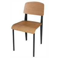 DM338 -  Wooden Dining Chairs with Black Steel Frame (Pack of 4)