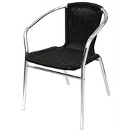 U507 -  Aluminium and Black Wicker Chairs Black (Pack of 4)