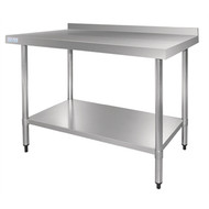 Vogue GJ509  Stainless Steel Table with Splashback 1800mm. Weekly Rental $6.00
