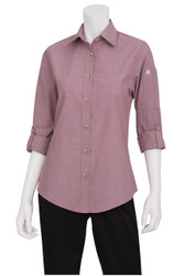 Ladies Chambray Dusty Rose Shirt
