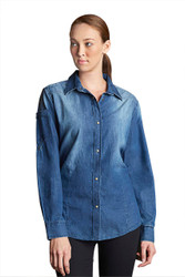 Ladies Trenton L/S Blue Denim Shirt