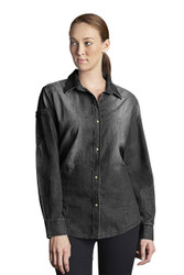 Ladies Trenton L/S Black Denim Shirt