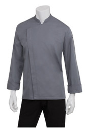 Mens Grey Press Stud Lansing Chef Jacket