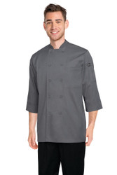 Grey 3/4 Sleeve Chef Jacket
