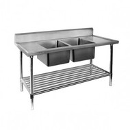 DSB7-1500C/A - Double Centre Sink Bench with Pot Undershelf . Weekly Rental $11.00